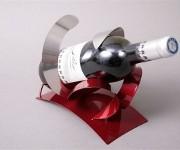 Support métal design rouge/argent 1 bouteille