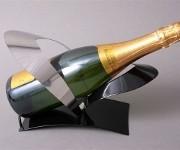 Support métal design noir/argent 1 bouteille champagne
